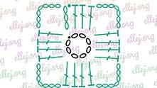 Зелеными нитками вяжем по этой схеме центральную часть мотивов.
