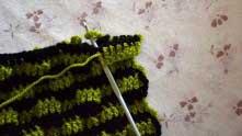 Теперь вяжем ряд зеленой ниткой. Седьмой столбик вяжем вводя крючок в вершину ССН и в первую зеленую арочку.