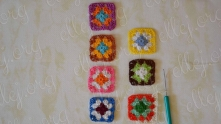 Edging and joining motifs start from lower right square. The move will be from bottom to top.