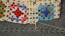 Ch 2, single crochet (sc), ch 2, sl st, ch 2 and continue to edging the motif.