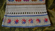 Motifs joined in the same way as at top of tunic. When motifs joined, I edging their with ch-3-arches. Join fabric at the same time. Similarly edging other fringe of these 13 motifs with arches.