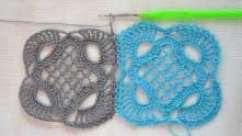 Соединили между собой 5 пар арок. Дальше обвязываем мотив не соединяя его с голубым.