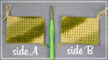 При вязании меланжевой пряжей - получаем разный рисунок с разных сторон полотна.