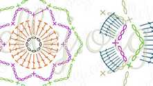 Crochet curly flower charts.