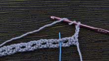 Treble crochet (tr) in the marked dc (blue marker).