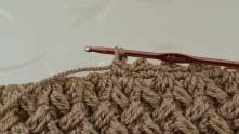 Вяжем столбик без накида под эту же цепочку.