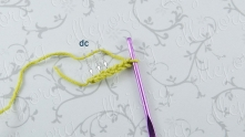 Work chain (ch) 6. Double crochet (dc) in 4, 5 and 6 ch from the hook.