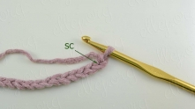 Row 1. Chain (ch) an even number. 1 single crochet (sc) in second ch from hook.