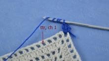 Пропускаем 3 клеточки, в четвертую вяжем столбик с 4 накидами (С4Н).