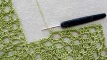 Для начала обвязываем столбиками без накида по одному под каждую петлю или столбик.