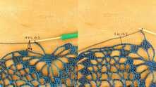 4 С2Н, 5 в.п. и вяжем столбик без накида по цепочку (фото справа).
