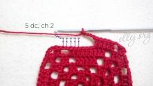 3 столбика пропустить и снова 5 ССН (3 в вершинки, 2 в дырочку), 2 в.п.