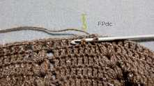Work elastic band with Front Post double crochet (FPdc) and Back Post double crochet (BPdc). Work ch 2, count as first BPdc. Work FPdc in the next dc around.