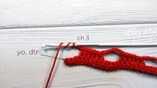 Ch 3 after last group of 6 dc, double treble crochet (dtr) in the last sc of the previous row.