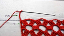 Treble crochet (tr) at the end of the row, ch 9. Turn.