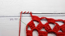 Ch 3, treble treble crochet (trtr) in the last space.