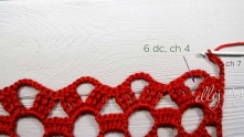 How to work 2 last rows. Ch 7, 6 dc in the arch, ch 4.