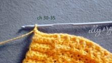Обвязка. В конце 22-го ряда набрать 30-35 в.п. для завязочек.