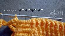По всей окружности чепчика вяжем рачий шаг (СБН, 1 в.п. слева направо).
