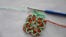 Green shell. Insert hook between ginger shells.