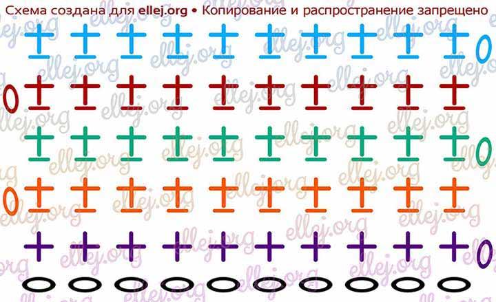 Схема вязании резинки крючком