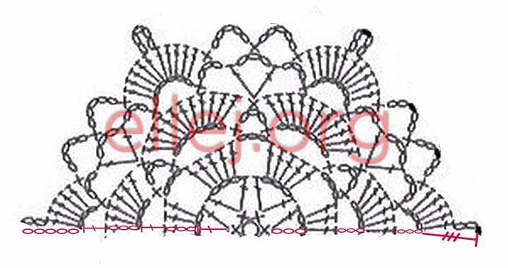 Схема половинки шестиугольного мотива крючком