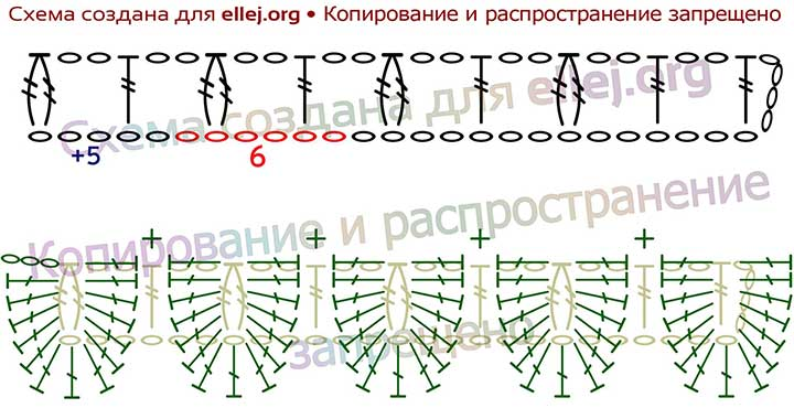 Схема вязания узора Чешуйки или Крокодиловая кожа