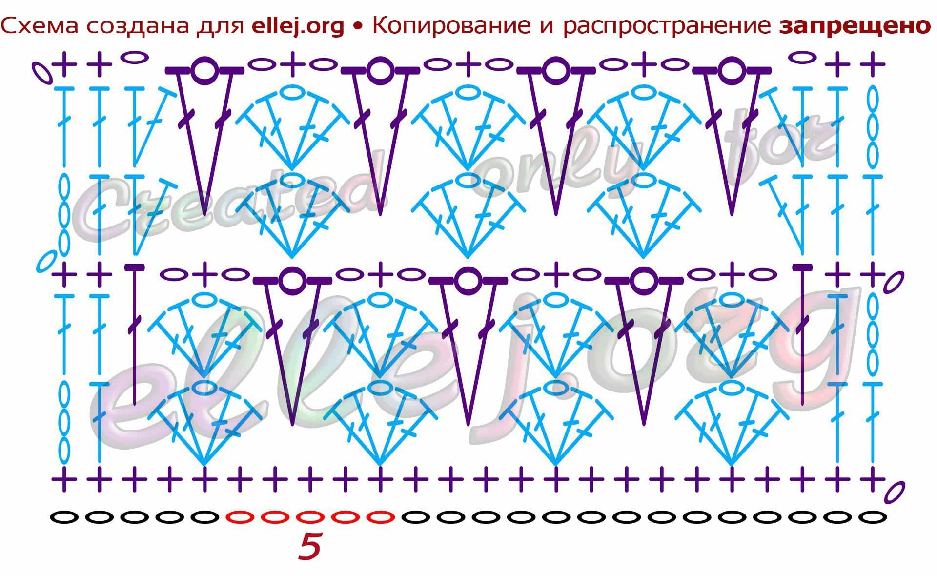 Схема двухцветного узора крючком ДЖЕЛЛИ