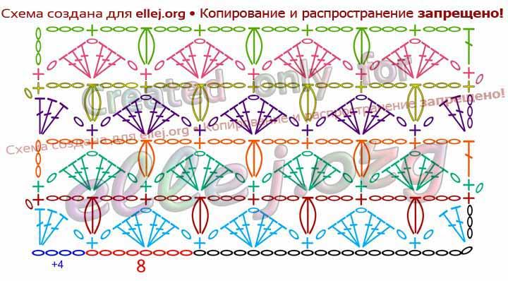 Схема вязания узора Ракушки с пышными столбиками