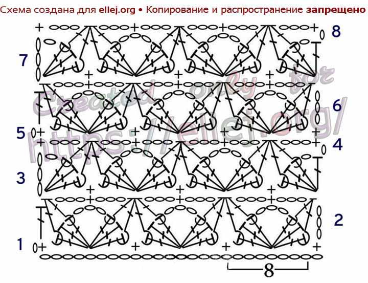Схема узора Звездный танец крючком. Рельефные узоры.