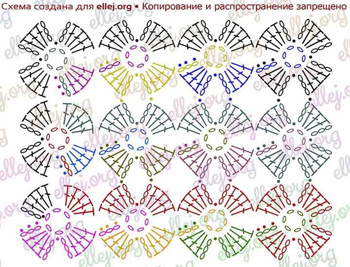 Безотрывное вязание крючком цветков 345