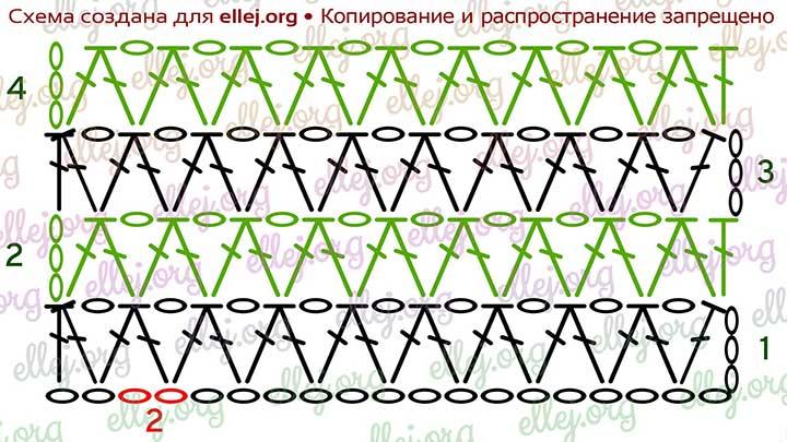 Схема вязания простого узора