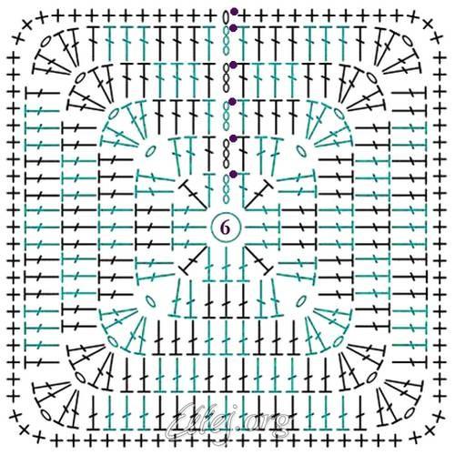 Схема Квадратного мотива с жаккардом