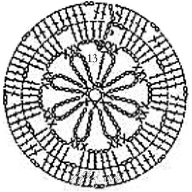 Схема вязания круглого мотива