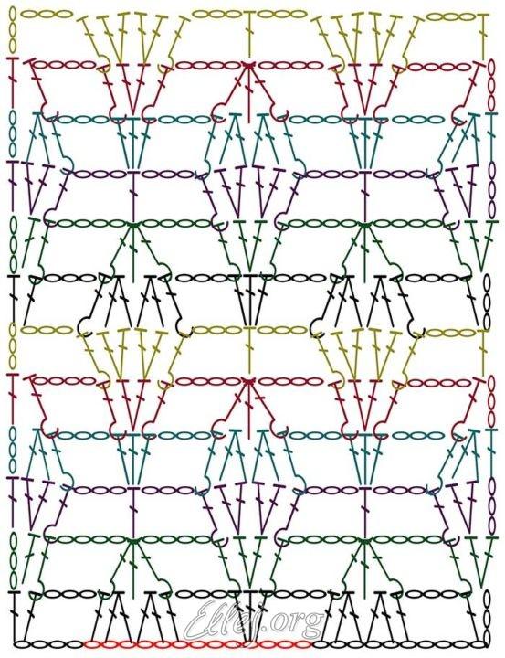 Схема узора Листья на паутинке
