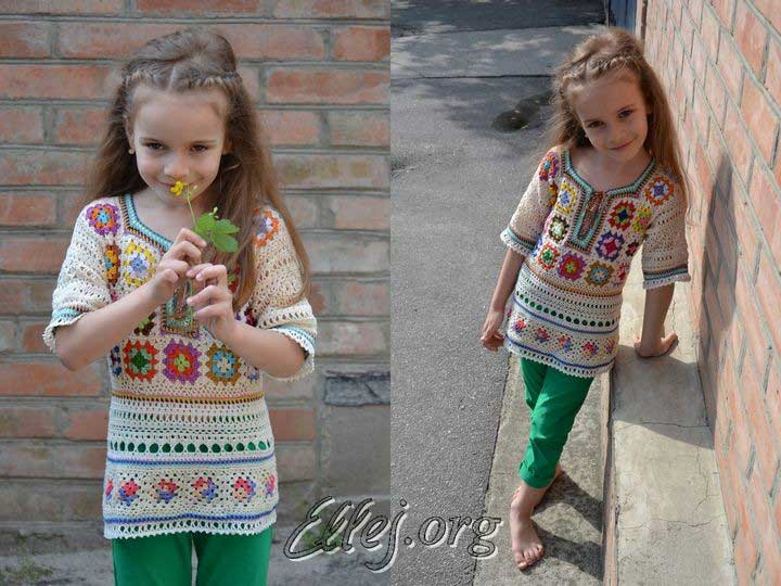 Tunic for girl from granny squares