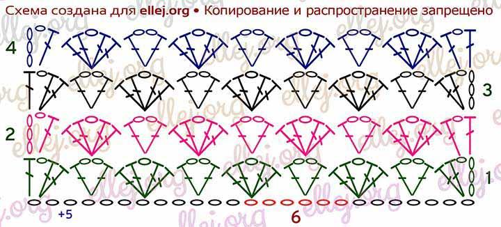 Схема вязания узора Ракушки