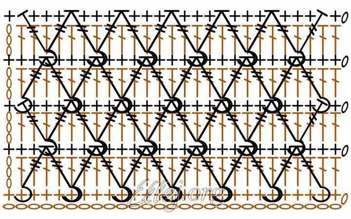 Схема дана для вязания одним цветом поворотными рядами