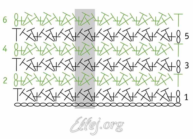 Схема - Простой узор крючком 018
