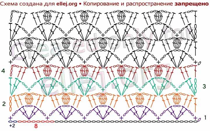 Схема узора Спинка крокодила