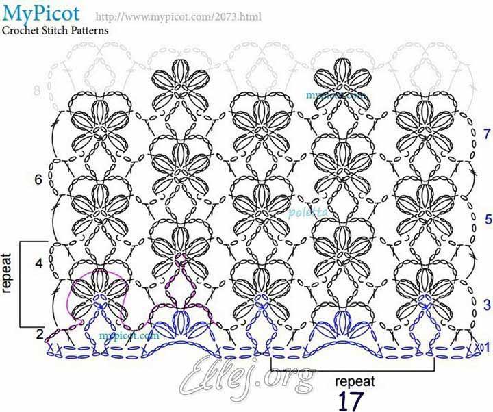 Схема рисунка цветка крючком
