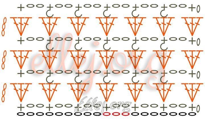 Схема Медового узора крючком