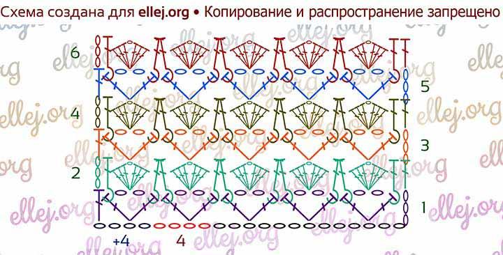 Схема вязания узора Зефирка