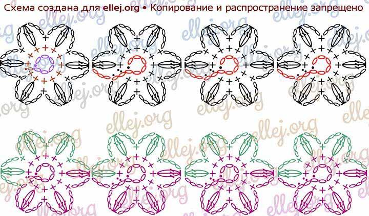 Вверху - схема перехода от цветка к цветку. Внизу - разметка рядов