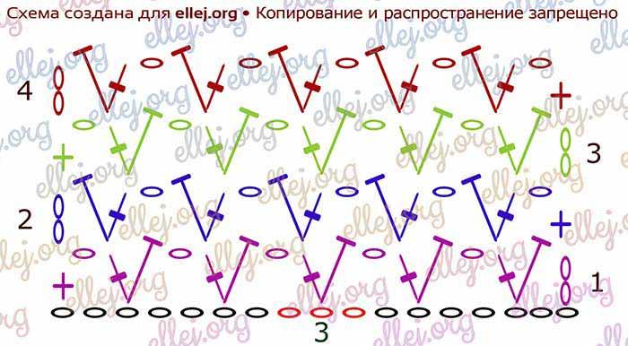 Простой узор крючком 0026 схема