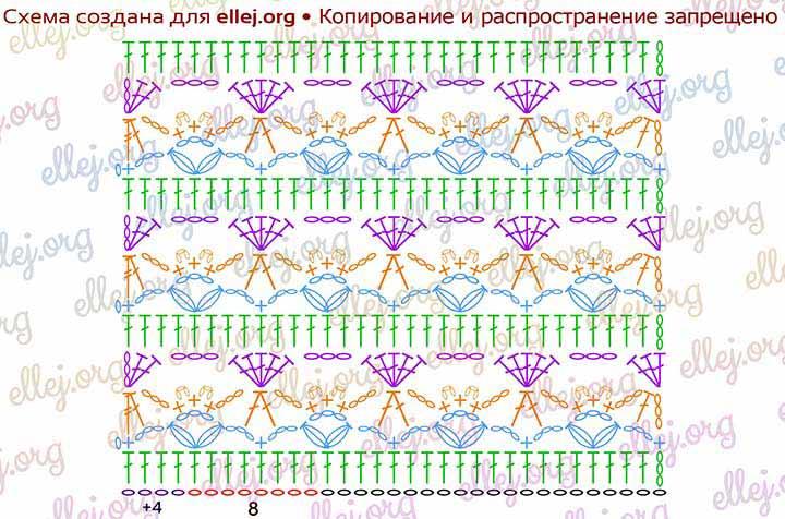 Схема вязания узора Монпансье
