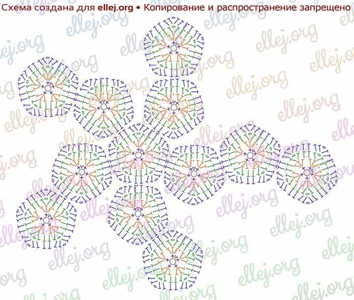 Схема расположения мотивов цветочком