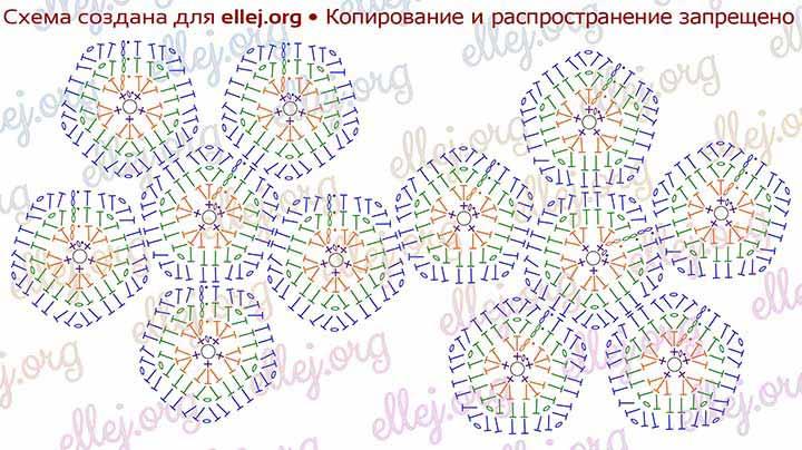 Схема расположения мотивов двумя цветочками