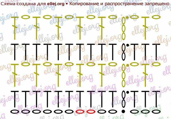 Схема вязания узора для шапки-бини