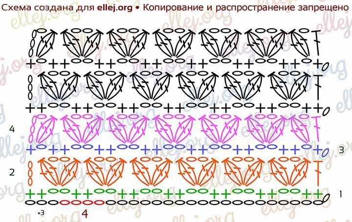 Схема вязания узора Копытца